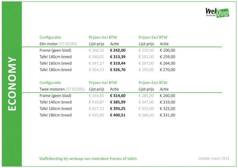 WelQuip Smart Table zit sta bureau prijslijst